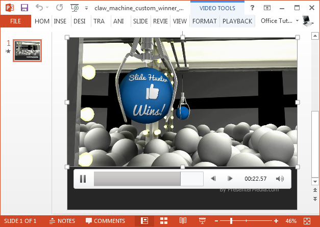 Claw machine video animation for PowerPoint