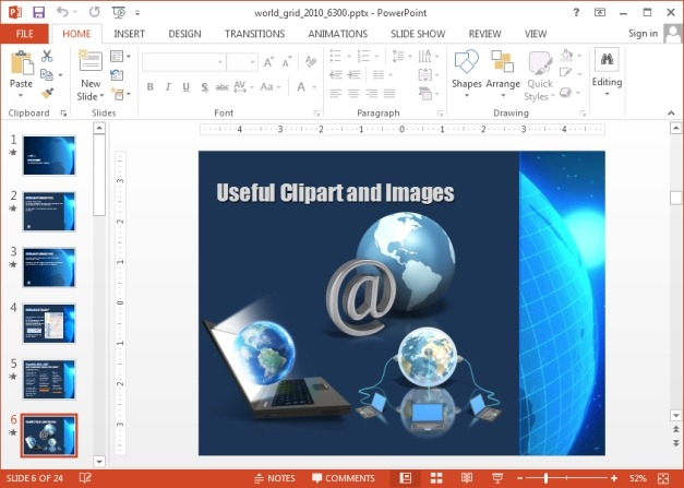 Clipart images with World Grid animation