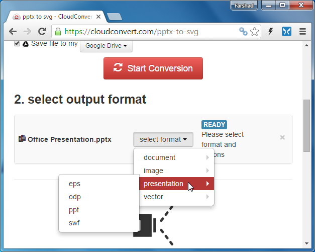 CloudConvert for converting PowerPoint files