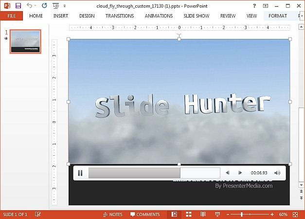 Clouds fly through video background for PowerPoint