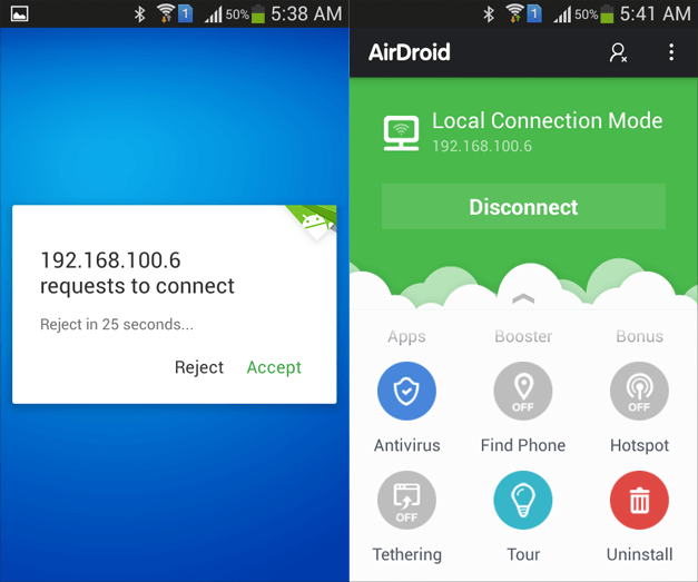 Connect AirDroid to PC