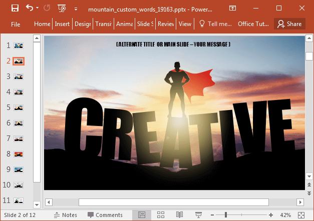 Create custom slides with mountain captions