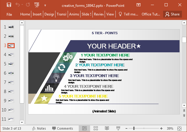 Creative forms presentation template for PowerPoint