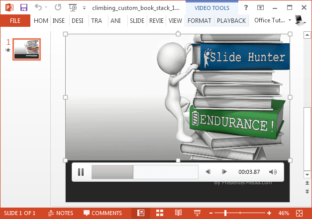 Custom text video animation of books stack