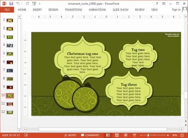 Customizable ornament slide designs