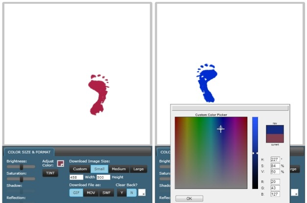 Customize red footsteps clip art