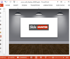 View of a presentation wall and screen for PowerPoint
