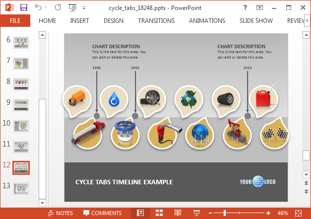 Cycle process timeline for PowerPoint
