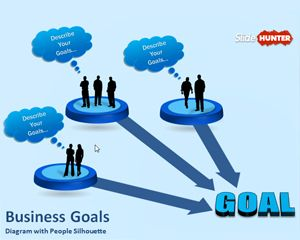 Business Goals Diagram Template for PowerPoint With People Silhouette