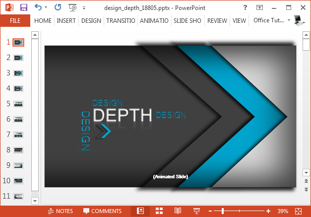 Design depth template for PowerPoint