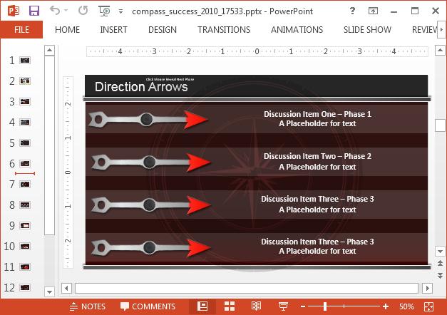 Direction arrows bullet list