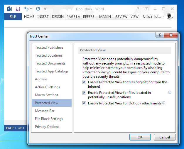 Disable Protected View in Word 2013