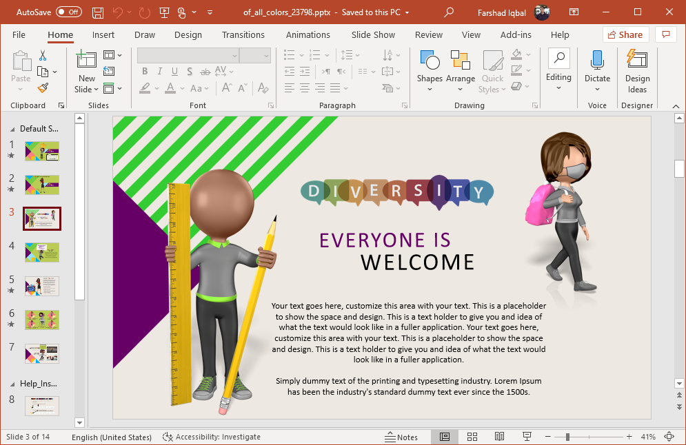 Diversity slide design