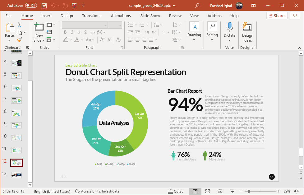 Donut chart slide with green graphics