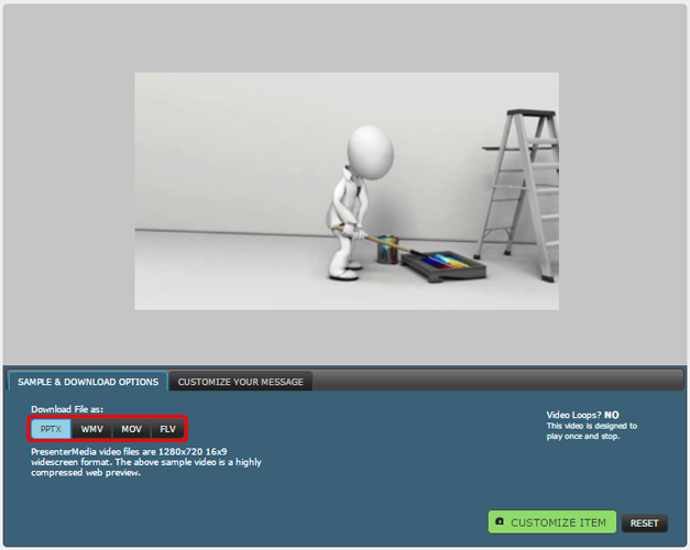 Donwload video background in PPTX, mov, wmv or flash format