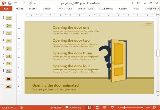 Door slide with list layout