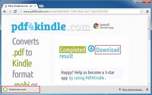Download Converted File in Kindle Format