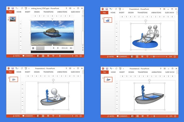 Drowning PowerPoint video animations
