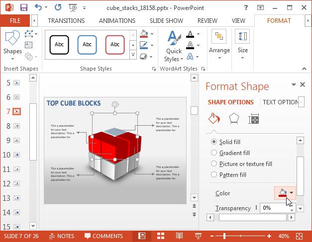 Editable cube diagrams for PowerPoint