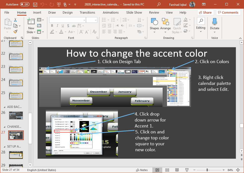 Editing Instructions for 2020 Calendar PowerPoint Template