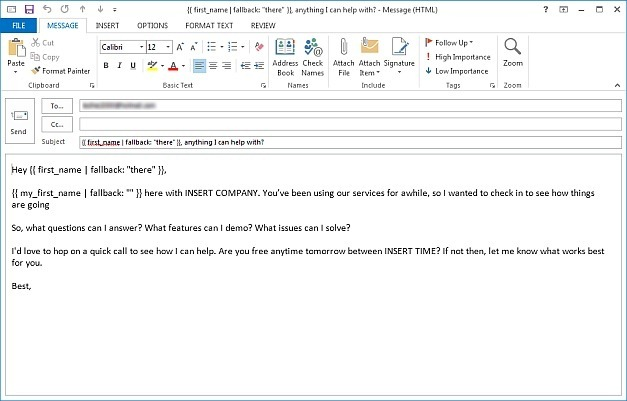 Email template open in Outlook 2013