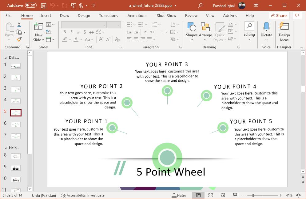 Five point wheel slide