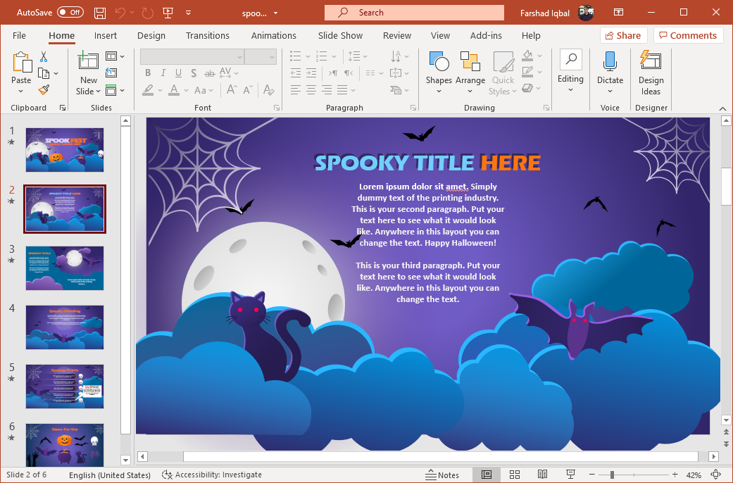 Flying bats, webs, full moon and black cat animation for PowerPoint