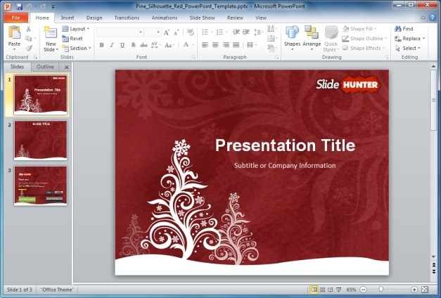 Free Pine Silhouette PowerPoint Template