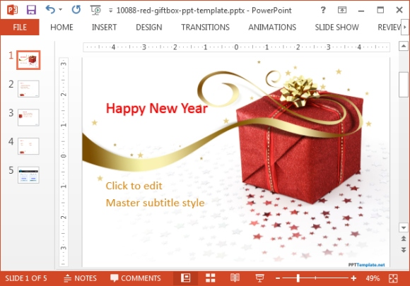 Free red gift box PowerPoint template