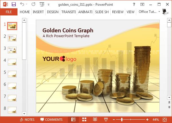 Golden coins PowerPoint template