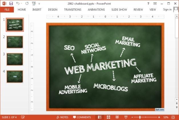Green chalkboard PowerPoint template
