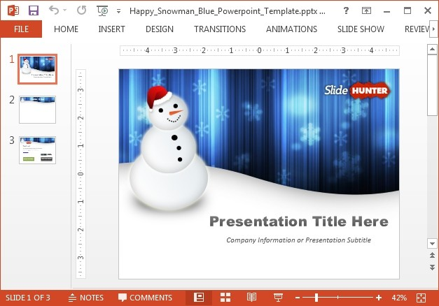 Happy snowman New Year PowerPoint template