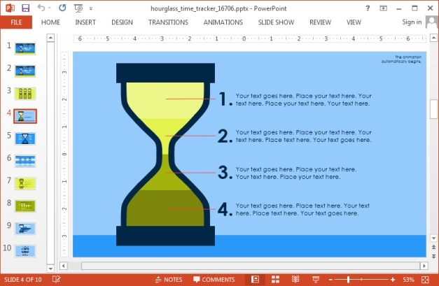 Hourglass slide design with bulleted list