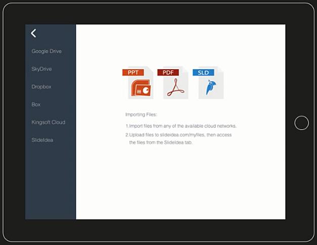 Import PowerPoint and PDF files to create SlideIdea slides on iPad