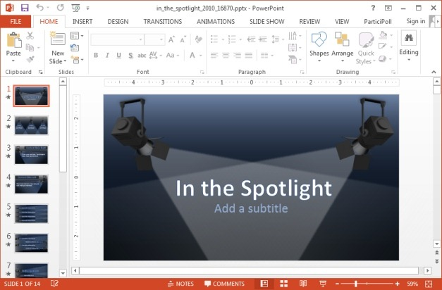 In the spotlight PowerPoint template