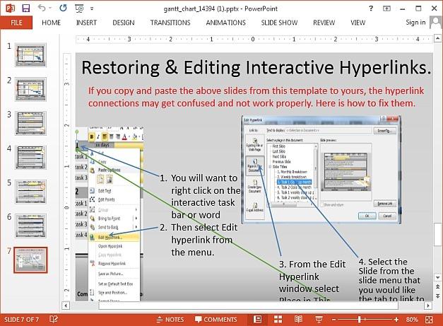 Instructions for editing Gantt chart