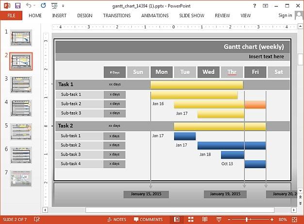 Interactive Gantt chart PowerPoint template