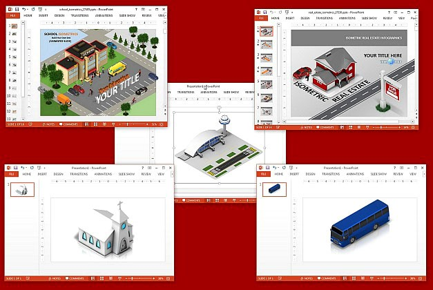Isometric clipart and templates