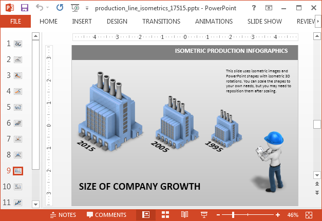 Isometric timeline template for PowerPoint