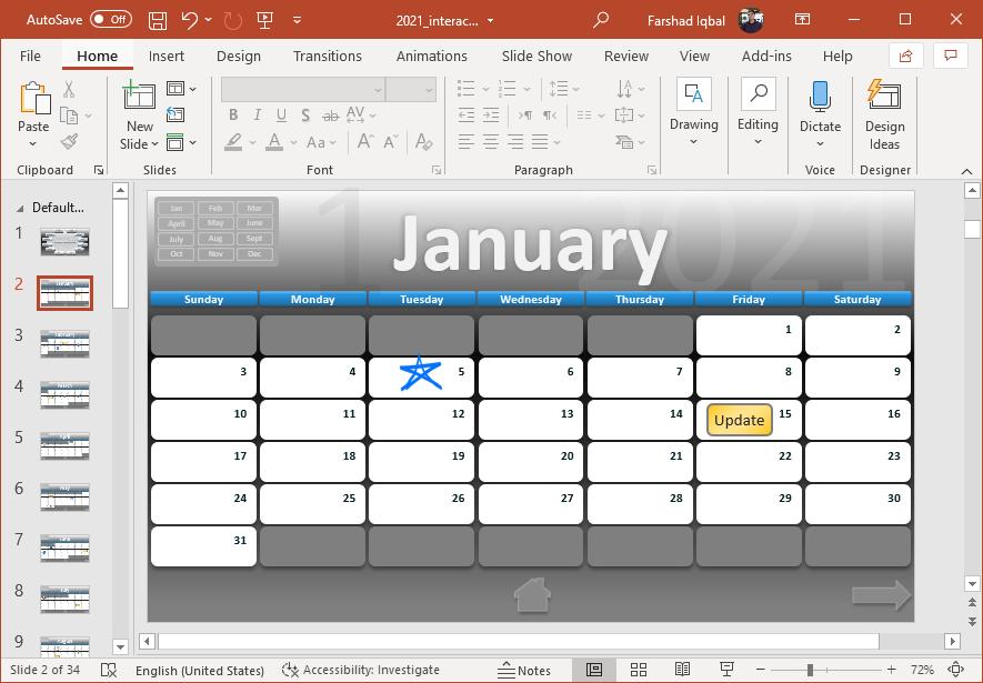 January calendar in PowerPoint