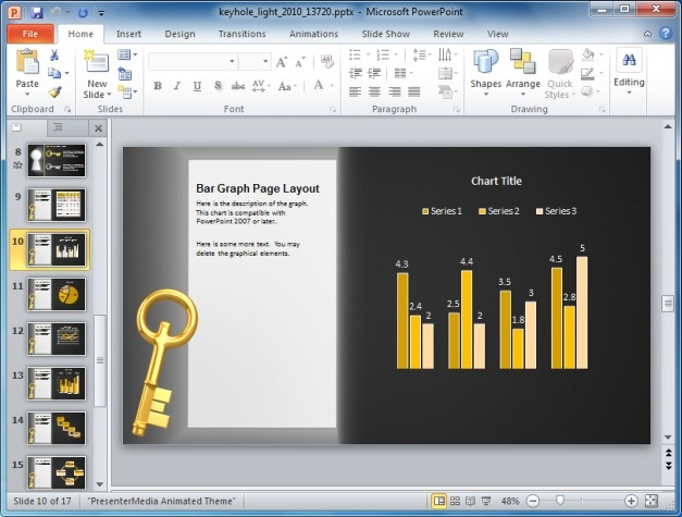 Keyhole PowerPoint Template With Graph