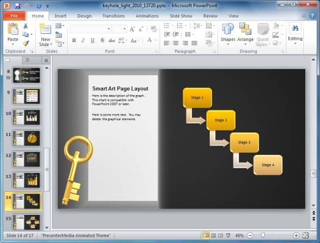 Keyhole PowerPoint Template With SmartArt Graphics