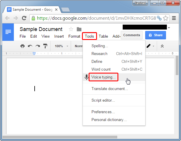 Launch voice typing in Google Docs