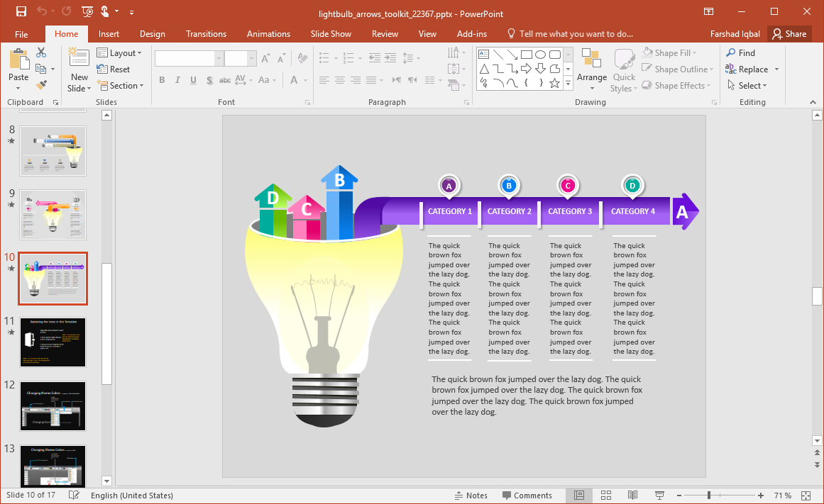 Light Bulb Timeline Slide