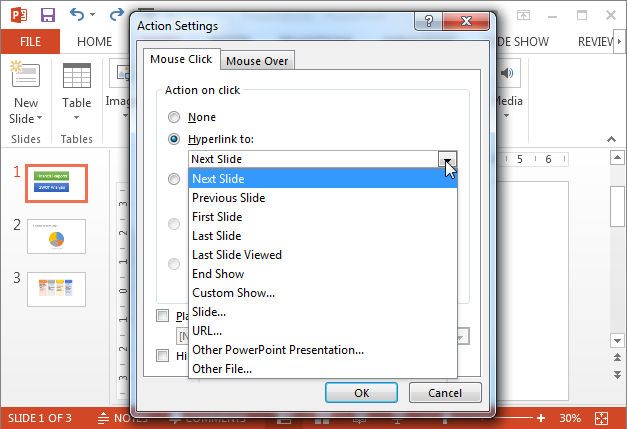 Link action buttons to slides in PowerPoint