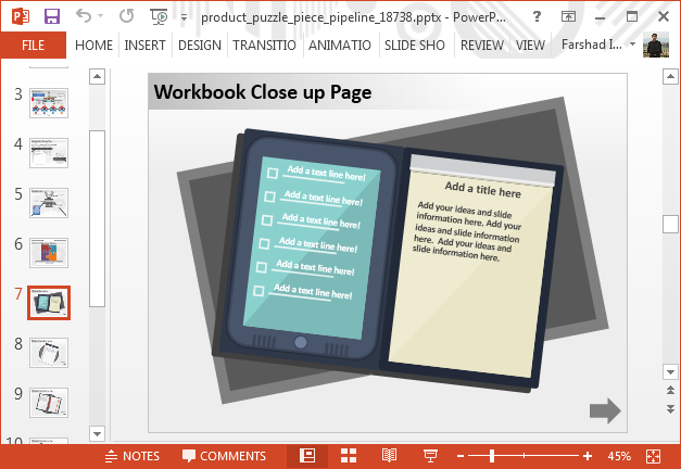 List slide with notebook background