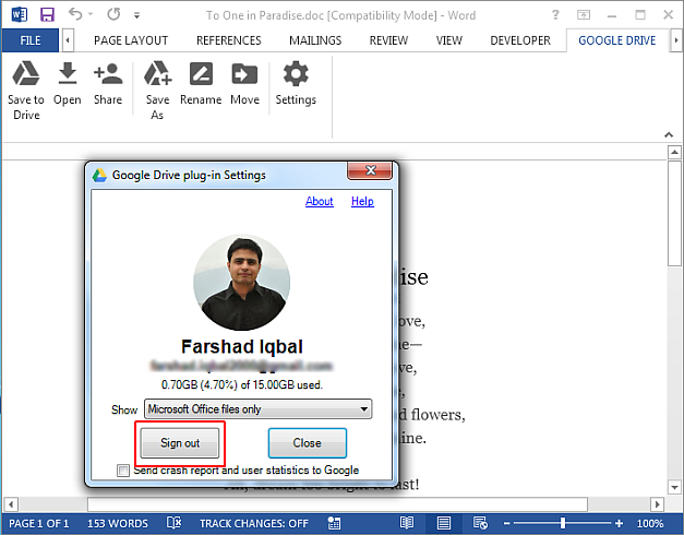 Log in and out of google account from MS Word