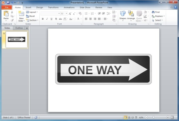 Long One Way Sign Right