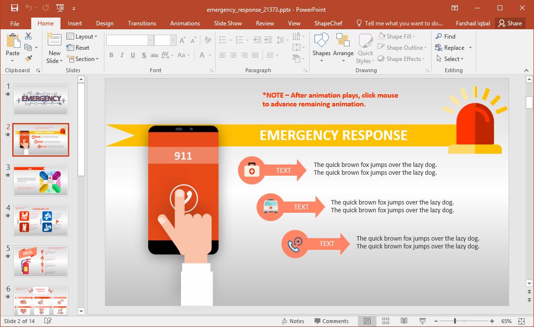 Make a presentation on Emergency Response