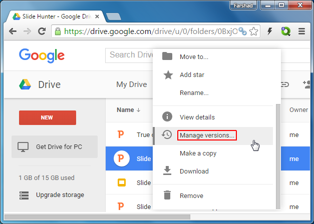 Manage versions in Google Drive